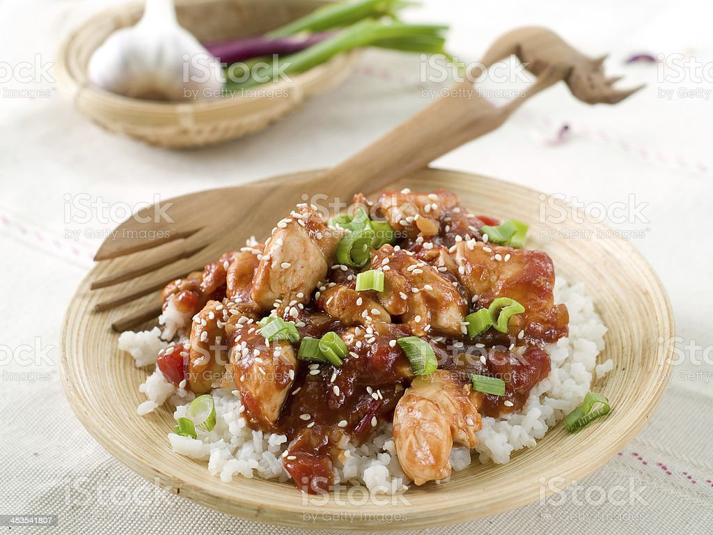 Rice with chicken sauce stock photo