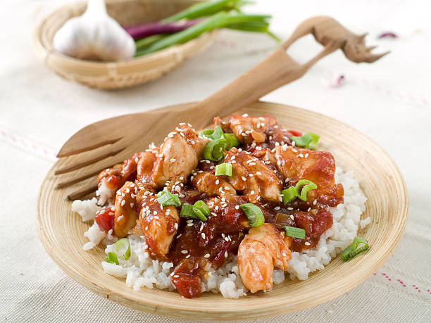 rice with chicken sauce - sesame stock photos and pictures