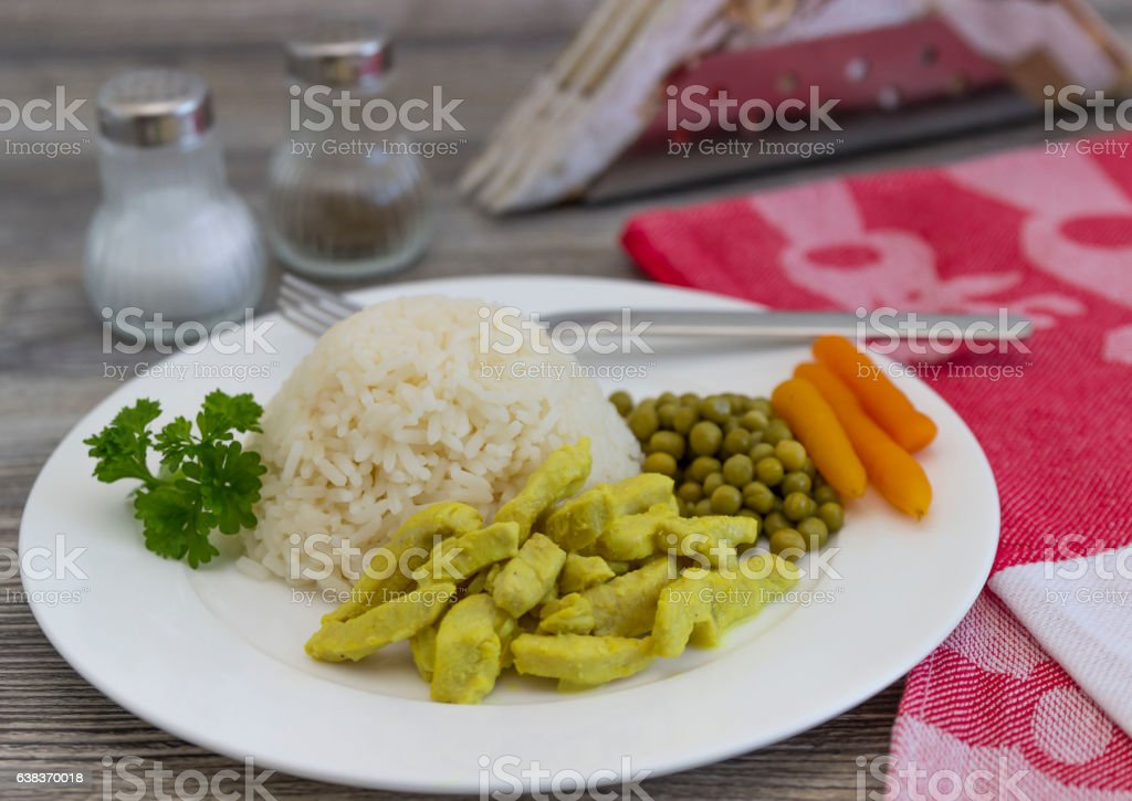 Rice with curry chicken stock photo