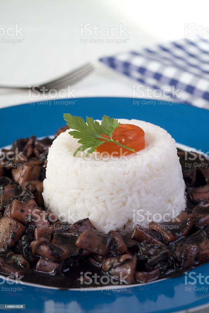 rice with cuttlefish royalty-free stock photo