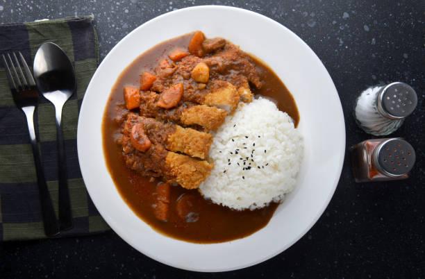 reis mit tiefen gebratenes schweinefleisch und curry. - curry reis stock-fotos und bilder