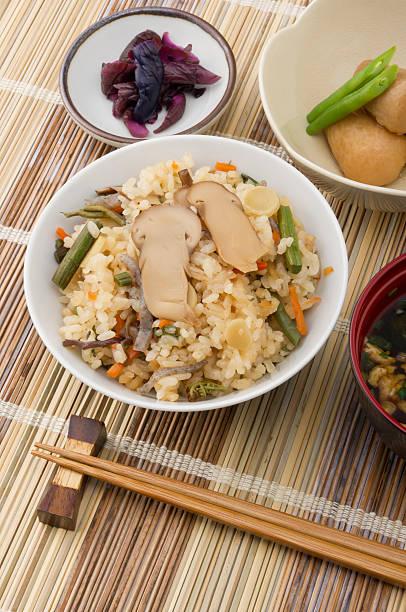 rice with matsutake mushrooms - 松茸 ストックフォトと画像