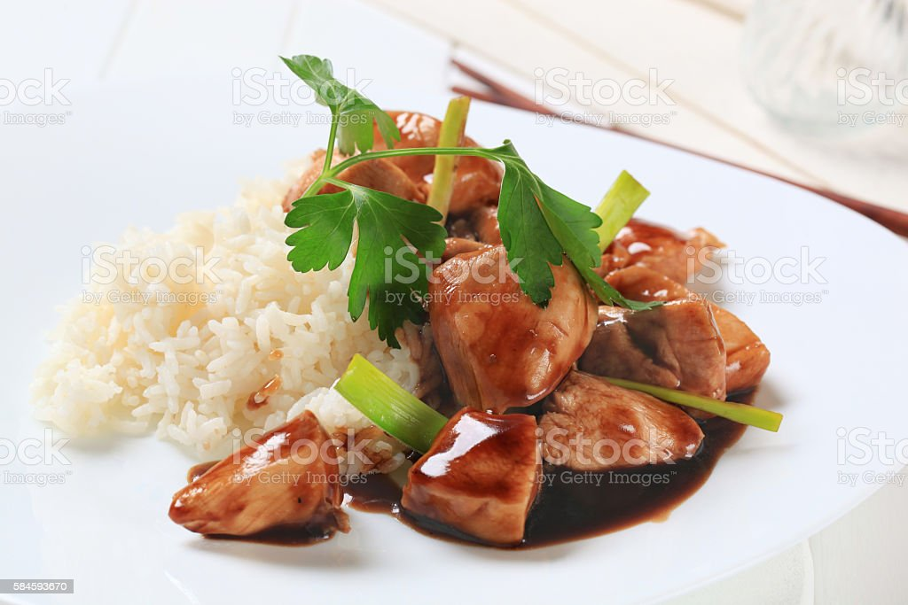 rice with meat in soy sauce - foto de acervo