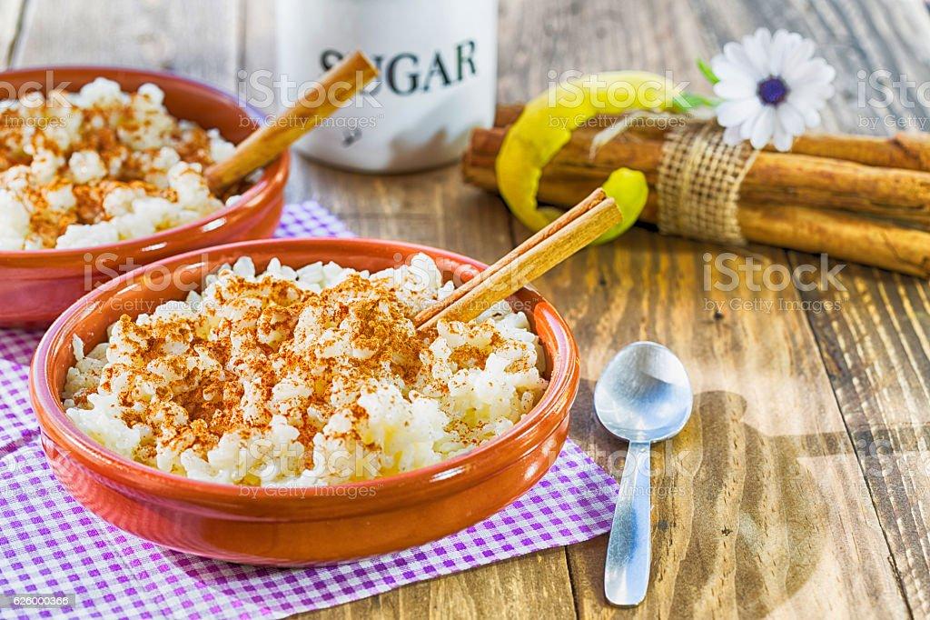 Rice with milk flavored with lemon - foto de acervo