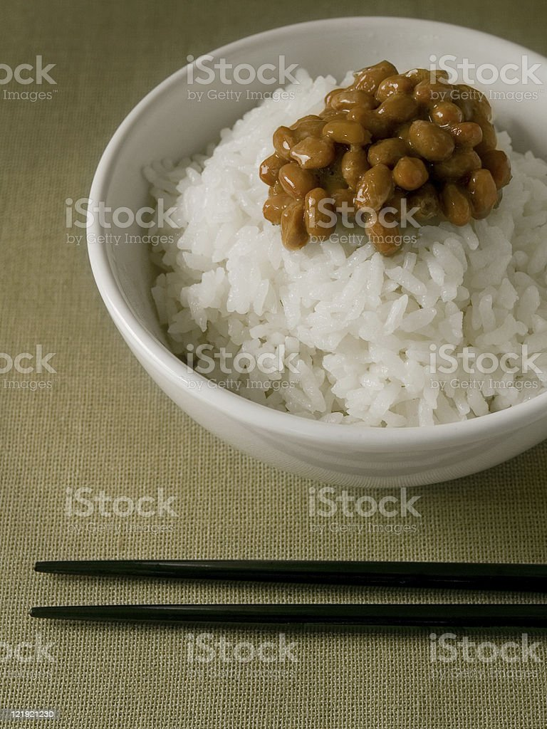 Rice with Natto royalty-free stock photo