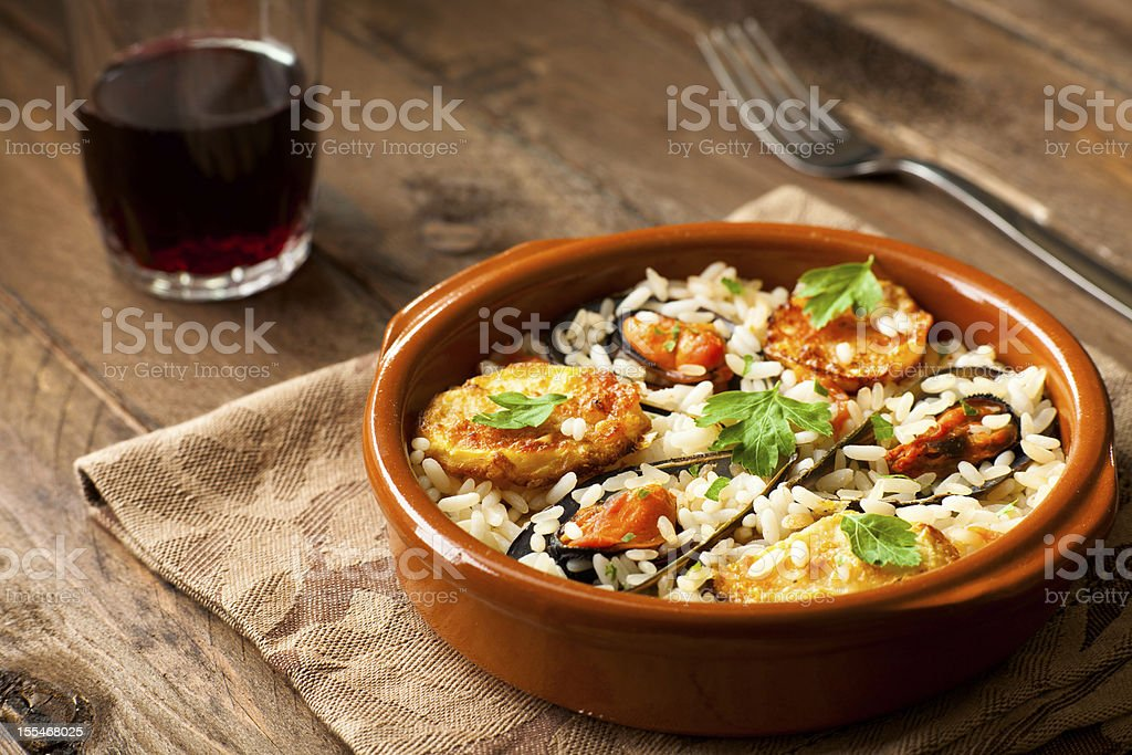 Rice with Potatoes and Mussels stock photo