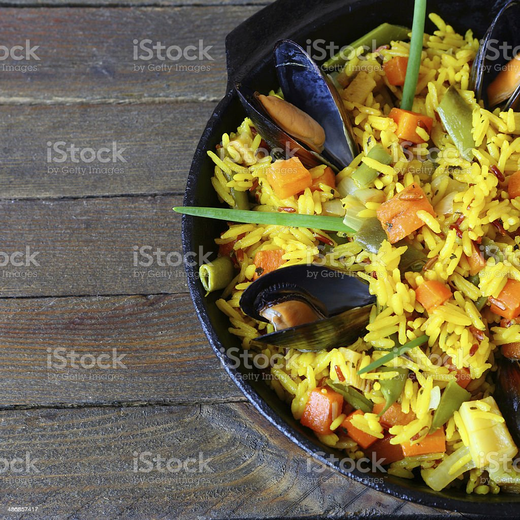 rice with seafood stock photo
