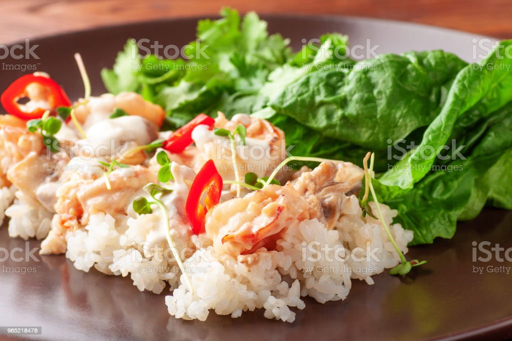 Rice with shrimps, parsley and spinach royalty-free stock photo