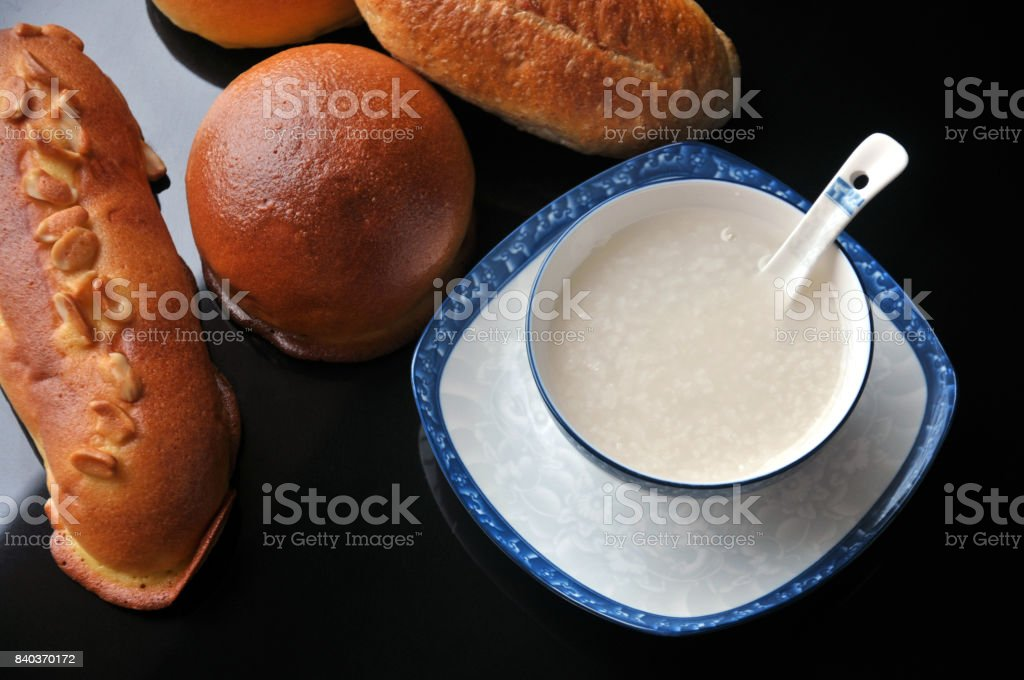 Rice-Congee and bread stock photo
