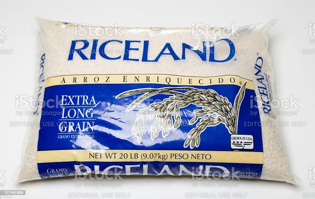 Grano Riceland más largo de la bolsa - foto de stock
