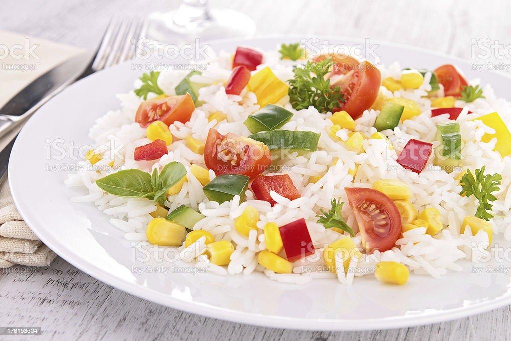 rice,tomato,corn and cucumber stock photo