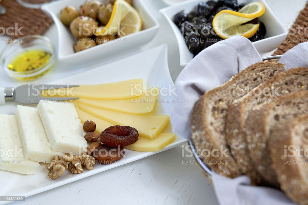 Rich and delicious Turkish breakfast stock photo