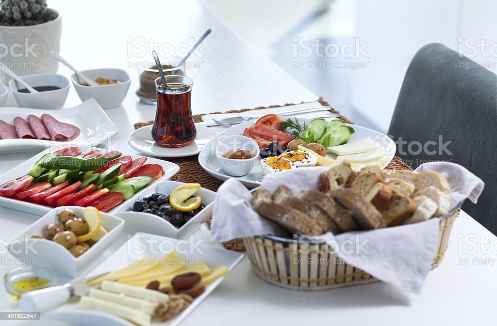 Rich and delicious Turkish breakfast with various dishes stock photo