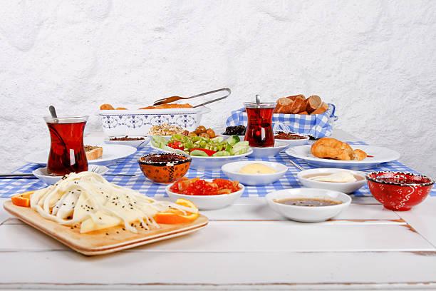 rich and delicious turkish, greek breakfast at santorini - ägäische inseln stock-fotos und bilder
