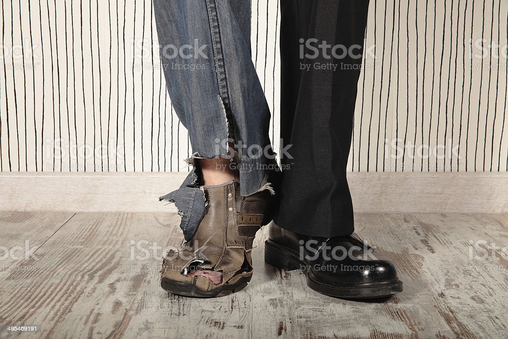 rich and poor stock photo