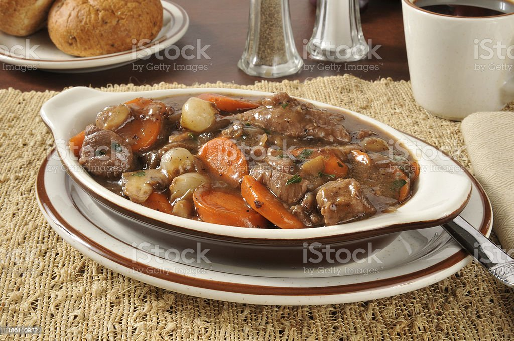 Rich beef stew bourguignon royalty-free stock photo