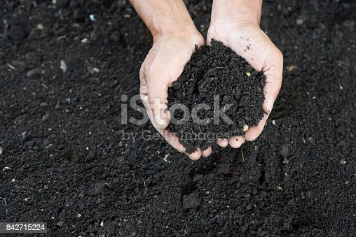 cupped farmers hand filled with black soil