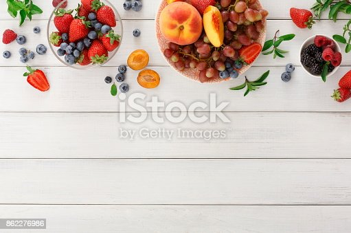 862604802 istock photo Rich breakfast on white wooden table 862276986