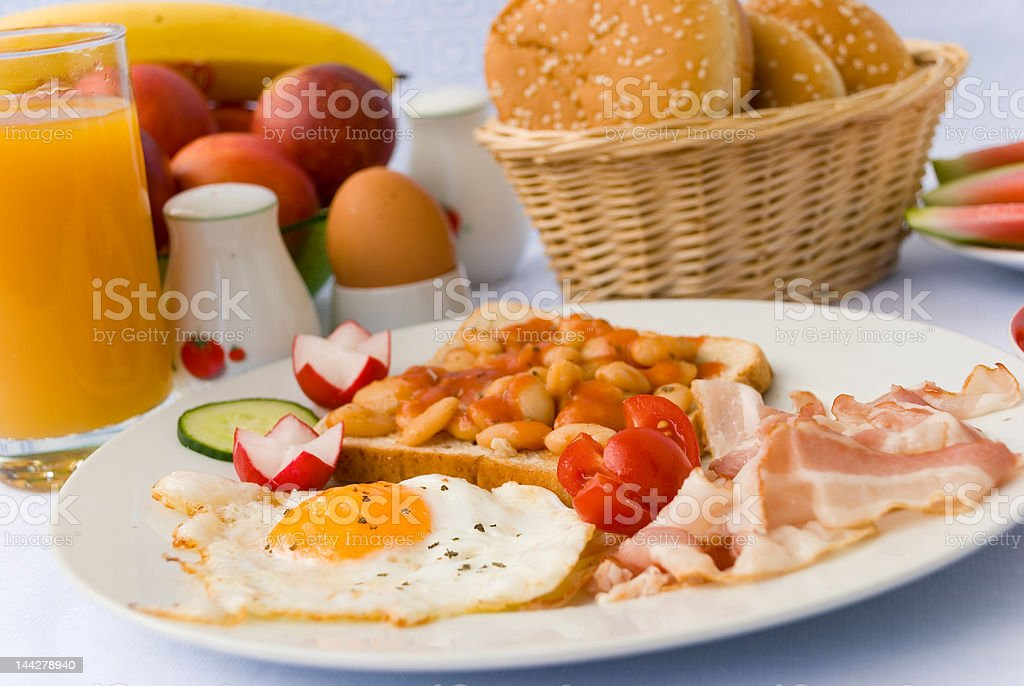Rich Breakfast with fried Eggs,Bacon, Beans 5 royalty-free stock photo