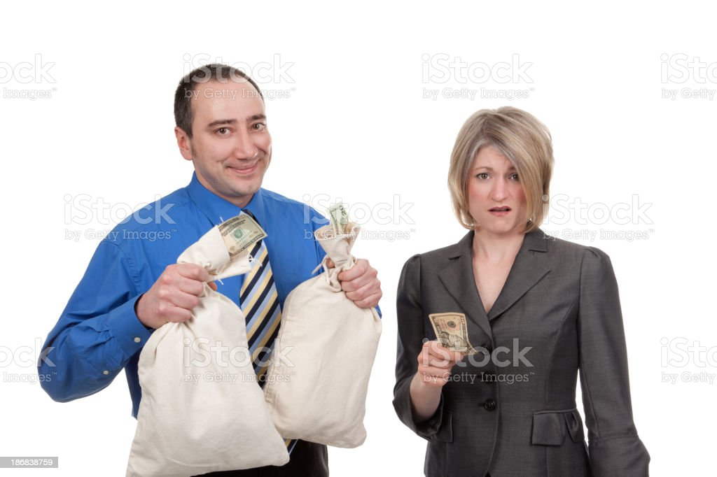 Rich Businessman Poor Businesswoman royalty-free stock photo