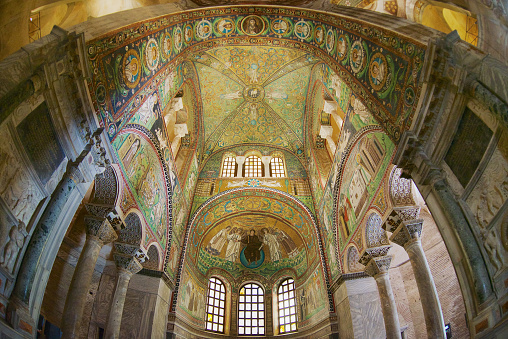 Rich decorated walls and ceiling of the Basilica di San Vitale in Ravenna, Italy.