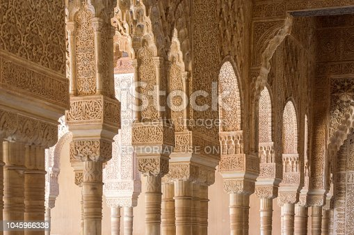 121178604 istock photo Rich decorations inside the Palacios Nazaries, Alhambra, Granada, Spain 1045966338