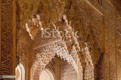 121178604 istock photo Rich decorations inside the Palacios Nazaries, Alhambra, Granada, Spain 1045966550