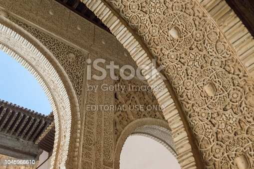 121178604 istock photo Rich decorations inside the Palacios Nazaries, Alhambra, Granada, Spain 1045966610