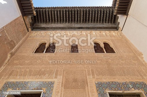 121178604 istock photo Rich decorations inside the Palacios Nazaries, Alhambra, Granada, Spain 1045966686
