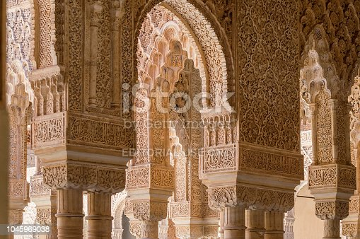 121178604 istock photo Rich decorations inside the Palacios Nazaries, Alhambra, Granada, Spain 1045969038