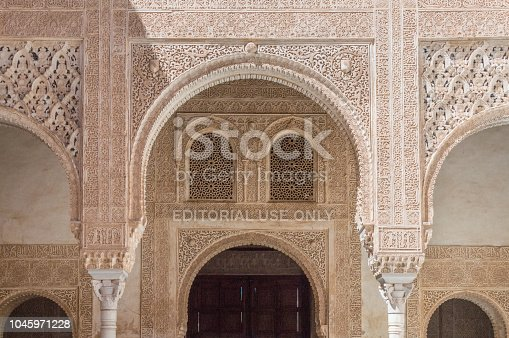 121178604 istock photo Rich decorations inside the Palacios Nazaries, Alhambra, Granada, Spain 1045971228