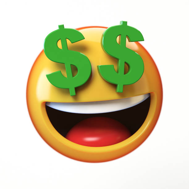 rich emoji isolated on white background, dollar eyes emoticon 3d rendering - dollar sign stock photos and pictures