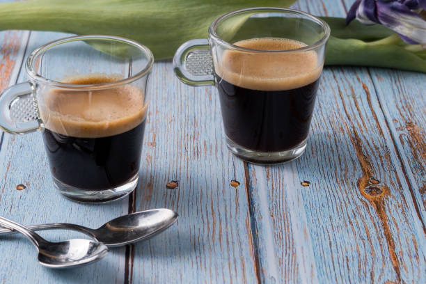 Rich Espresso in Demitasse Cups stock photo