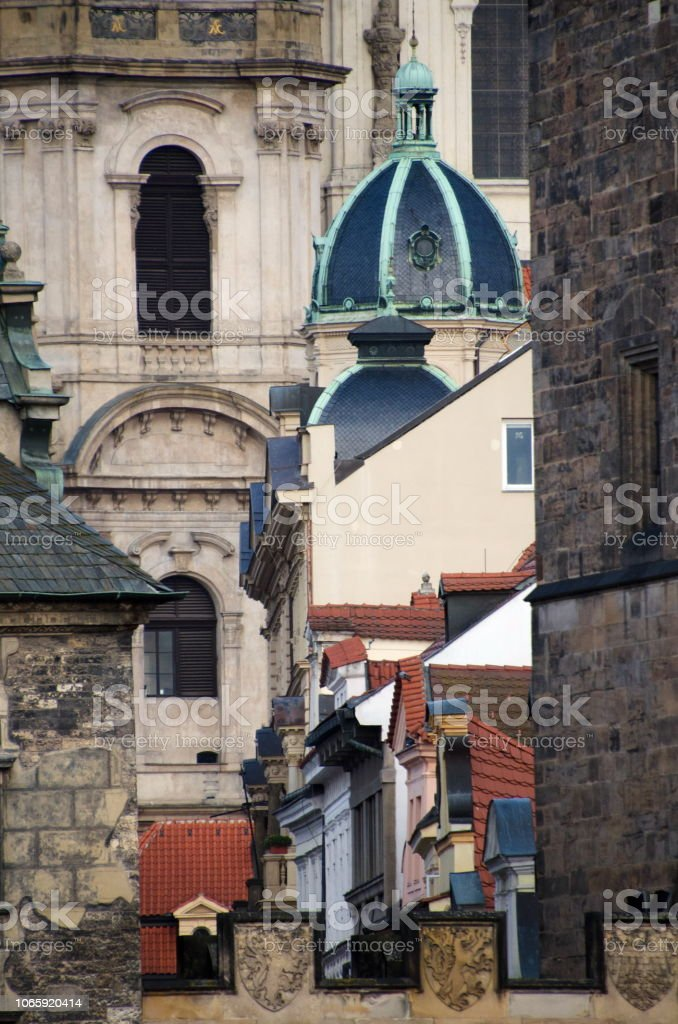 Rich exterior details of houses near Lesser Town Tower on Charles...