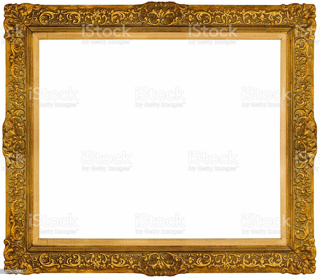 240cc837c13 Rich gilded museum frame isolated on white background. - Stock image .