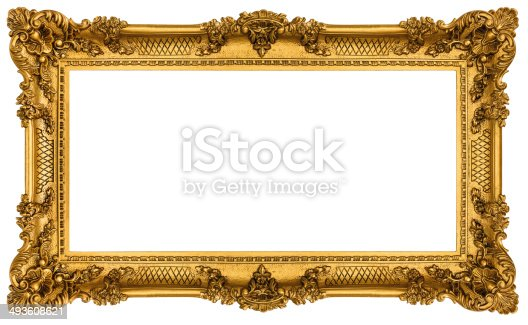 istock Rich Golden Frame isolated on white background 493608621