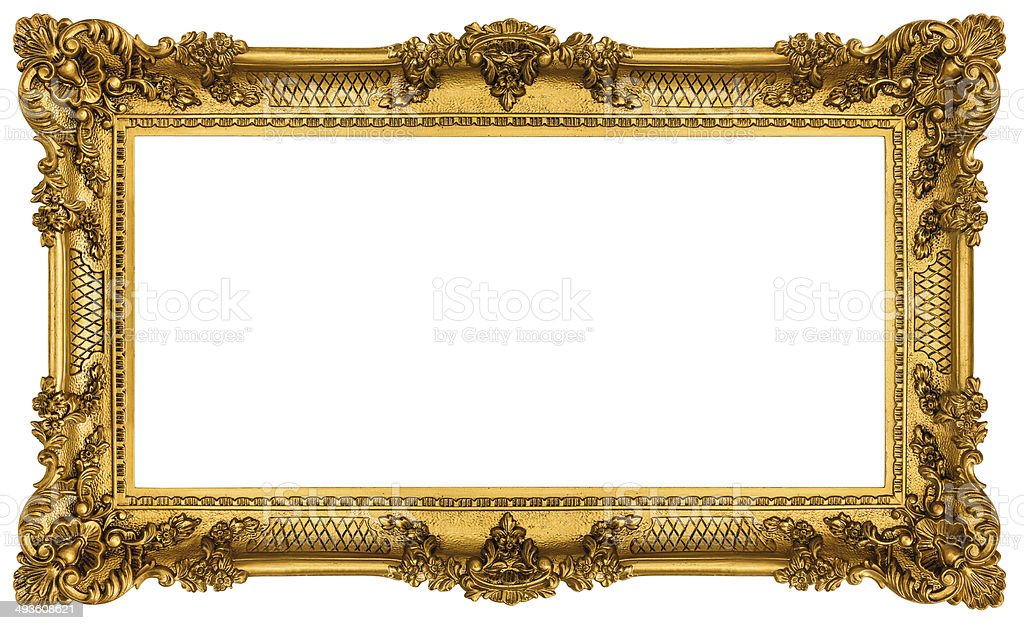 Rich Golden Frame isolated on white background stock photo