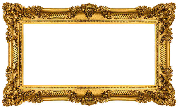 rich golden frame isolated on white background - baroque stock photos and pictures