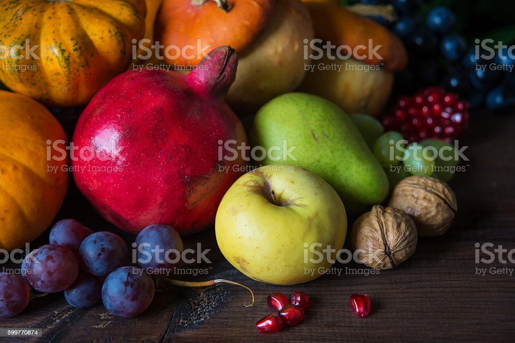 Rich harvest of various fruits and vegetables stock photo