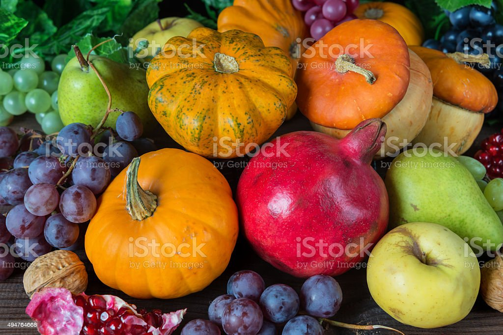 Rich harvest of various fruits stock photo
