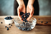 Unrecognizable woman cleaning blueberries in bowl with water on kitchen counter