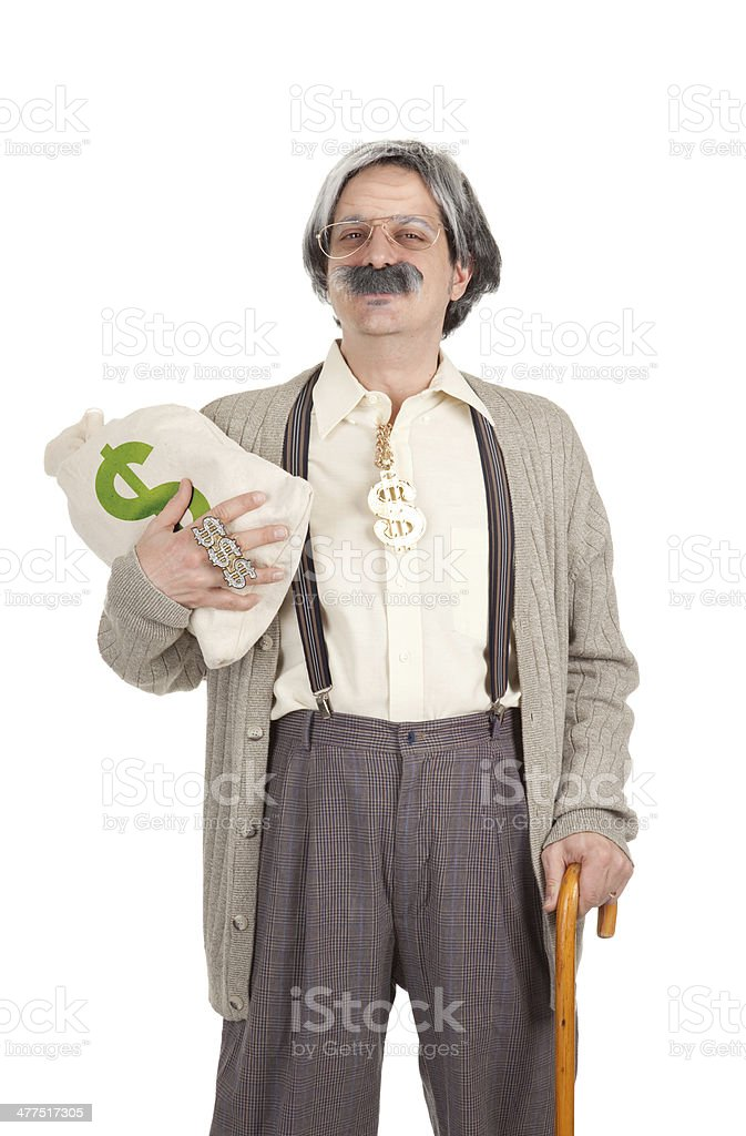 Rich Old Man Holding Money Bag stock photo