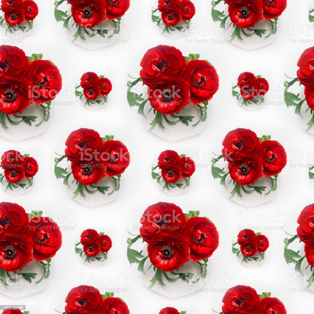 dbe93d59 Rich red buttercup flowers bouquet in white vase as seamless pattern.  Elegance summer background.