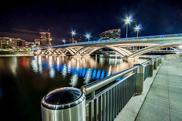 Rich Street Bridge Downtown Columbus Ohio Cityscape River Reflections  HDR stock photo