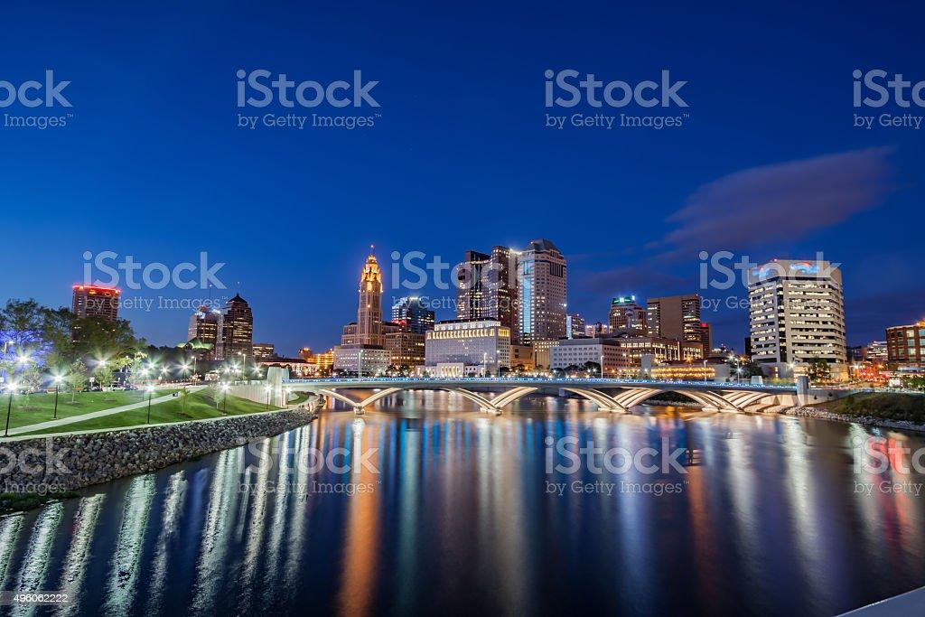 Rich Street Bridge Scioto River Columbus Ohio Downtown Reflections HDR stock photo