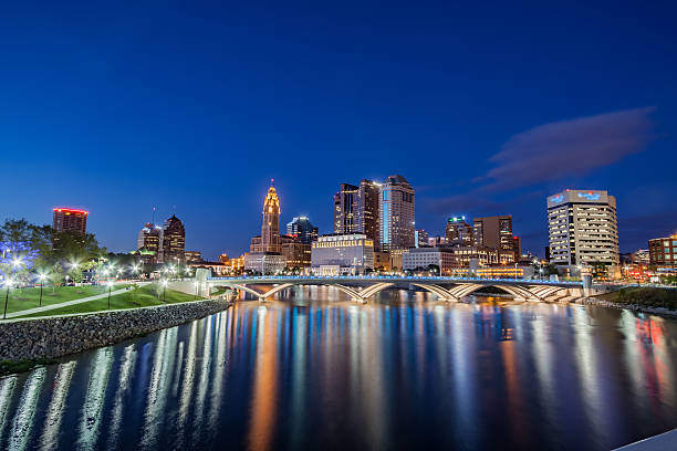 Rich Street Bridge Scioto River Columbus Ohio Downtown Reflections HDR stock photo