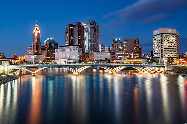 Rich Street Bridge Scioto River Downtown Columbus Ohio Skyline HDR stock photo