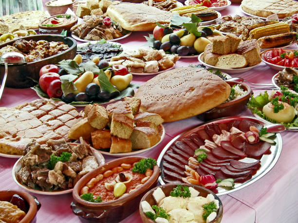 rich traditional dining for event - serbia stock photos and pictures