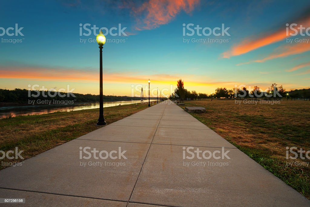 Richard Berkley Riverfront Park Sunrise stock photo