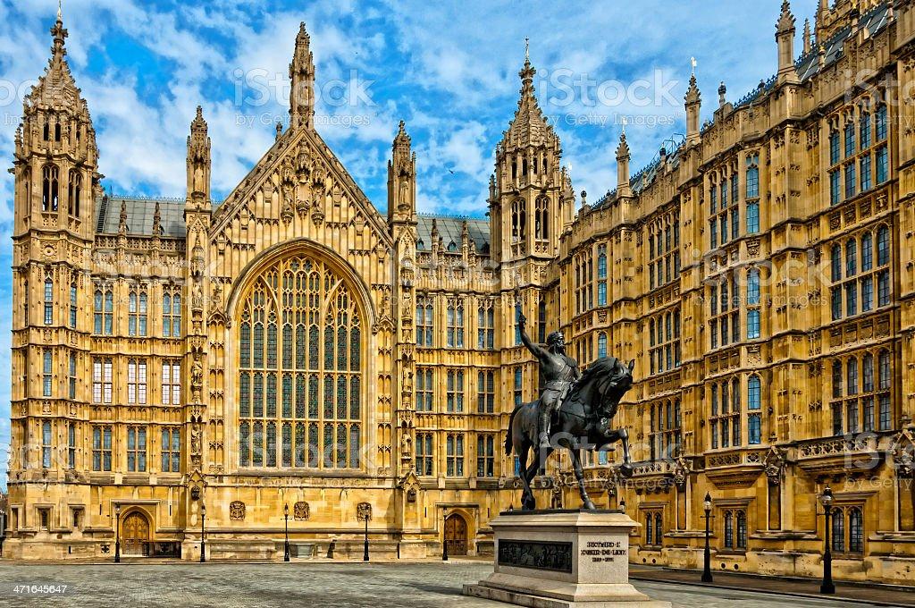 Richard I statue outside Palace of Westminster stock photo